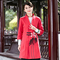 Красный китайских женщин Длинная ветровка принт хлопок шерсть высокое качество Новинка! Платье для девочек осень-зима пальто M, L, XL, XXL, XXXL 2352