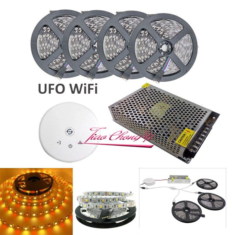 5 M 10 M 15 M 20 M lumière LED bande SMD 5050 RGBW RGBWW 1200 LED s 60 LED s/M LED bande RGB transformateur de bande + UFO WiFi contrôleur