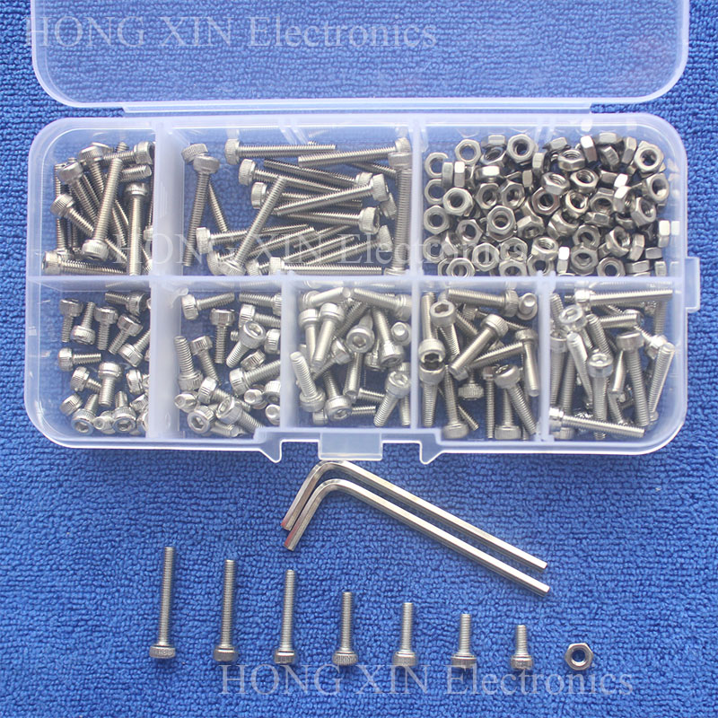 240pc/set M3 Cap Head Stainless Steel Hex Socket Screws Bolt With Hex Nuts Assortment Kit Fasteners With Plastic Box Screw Bolt
