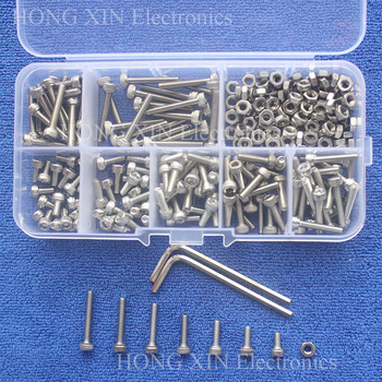 240pc/set M3 Cap Head Stainless Steel Hex Socket Screws Bolt With Hex Nuts Assortment Kit Fasteners with Plastic Box screw bolt 340pcs assorted stainless steel m3 screw 5 6 8 10 12 14 16 18 20mm with hex nuts bolt cap socket set