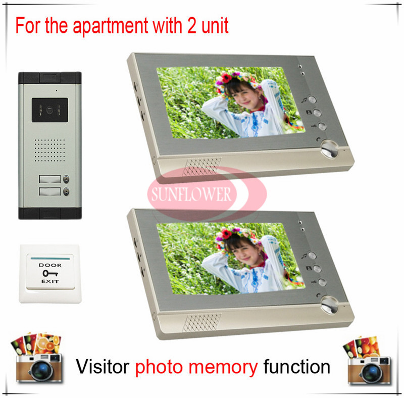 Two Units Apartment Color Video Door Phone Intercom Doorbell Visitor Photo Memory Duplex 2 ( Also support SD card photo storage) my apartment
