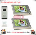 Two Units Apartment Color Video Door Phone Intercom Doorbell Visitor Photo Memory Duplex 2 ( Also support SD card photo storage)