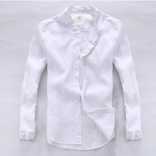 Camisa เสื้อผู้ชายผ้าลินินออกแบบแบรนด์เสื้อผ้าผู้ชายเสื้อแขนยาวเสื้อสีขาวสำหรับผู้ชาย homme... masculina