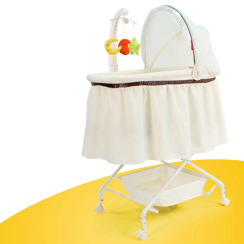 Environmental Protection Multifunction Baby Cradle Newborn Music Toys Cradle Bed Silent Wheel Baby Bed Portable Baby Crib C01 bed cradle musical carousel mobile bed bell support arm cradle music box with rope automatic carillon music box without toys