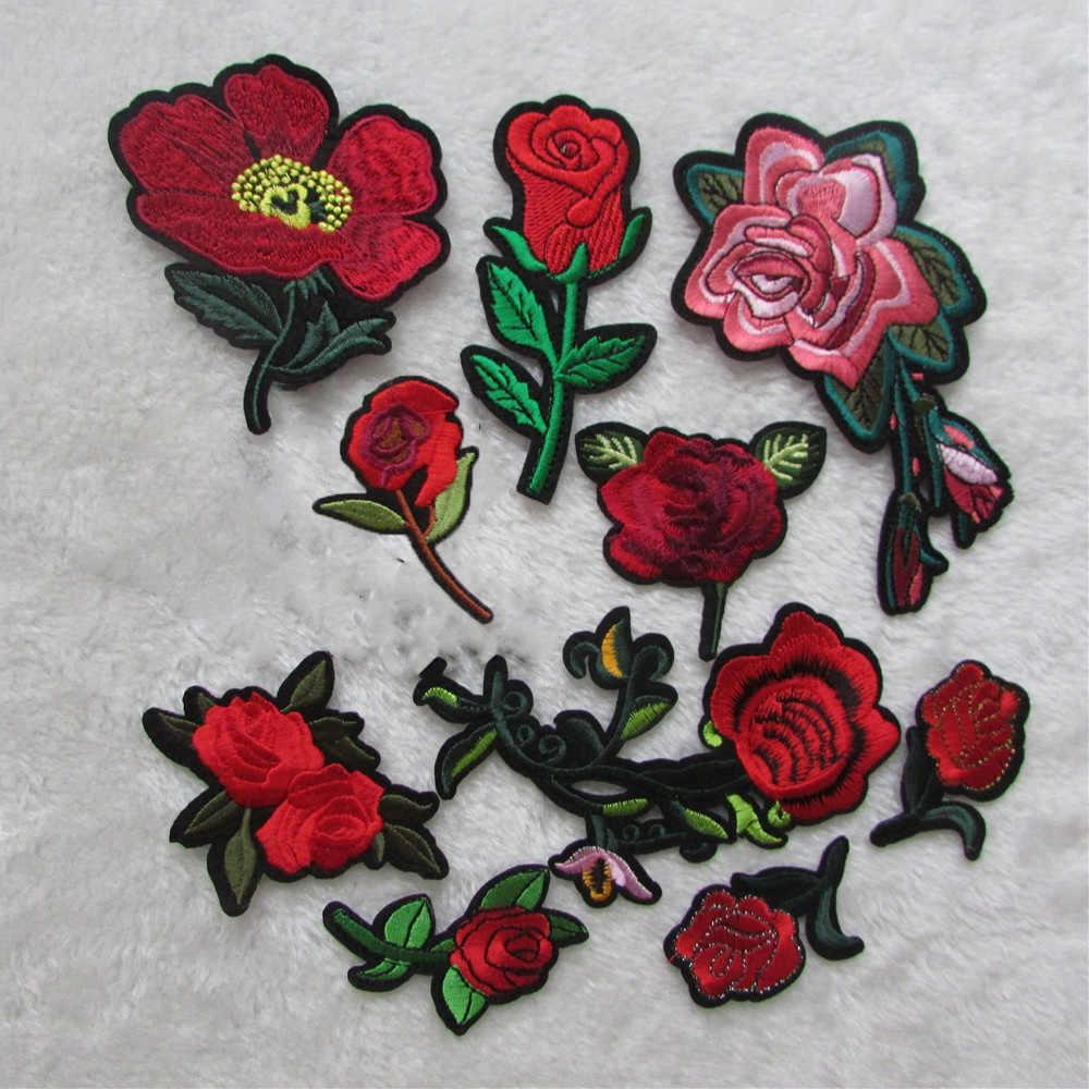 Hohe qualität rote blume Für Kleidung Eisen Auf Gestickte Applikationen DIY Bekleidung Zubehör Patches Für Kleidung Stoff Abzeichen