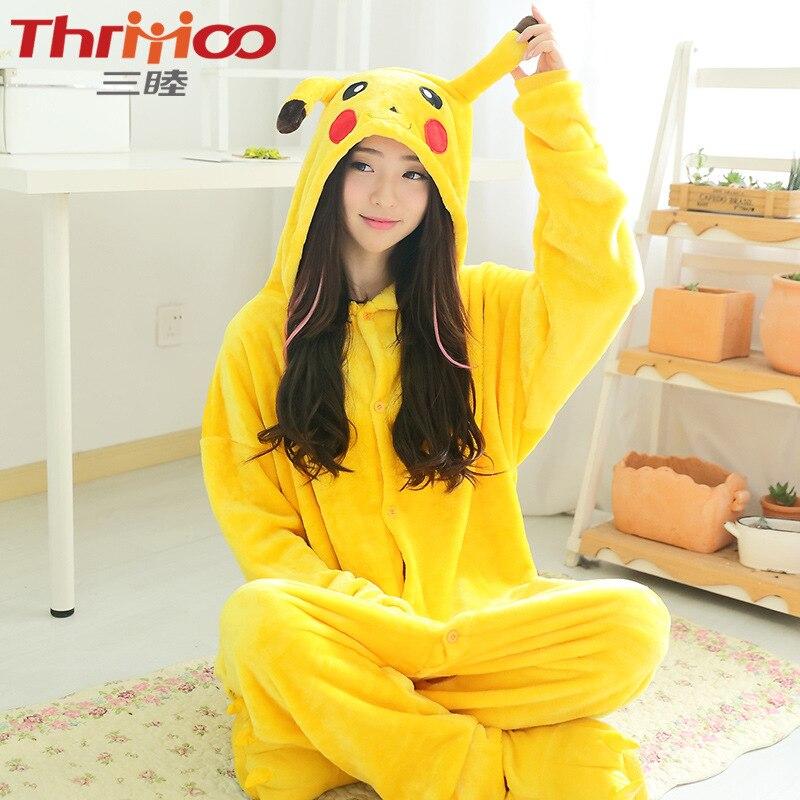 Free shipping cartoon Anime Pikachu Pokemon Onesie Cosplay Costume Unisex Pajamas Animal Cute Night pokemon Go