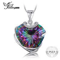 Huge 32ct Genuine Rainbow Fire Mystic Topaz Necklace Pendant 925 Solid Sterling Silver Sets Luxury Wedding