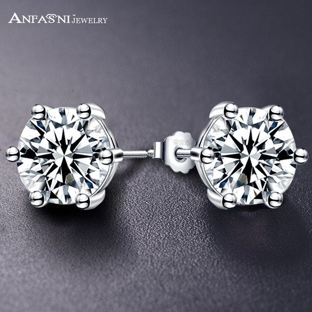 ANFASNI Fashion Sample Design Pure 100% 925 Sterling Silver Stud Earrings  Cubic Zirconia Jewelry For