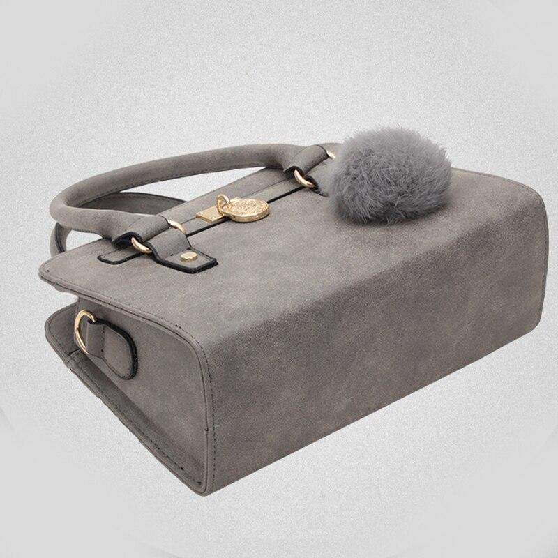New Fashion Women Bags 2017 High Quality Leather Handbags With Fur Ball Ladies Top Handle Bags Soild Women Shoulder Bag