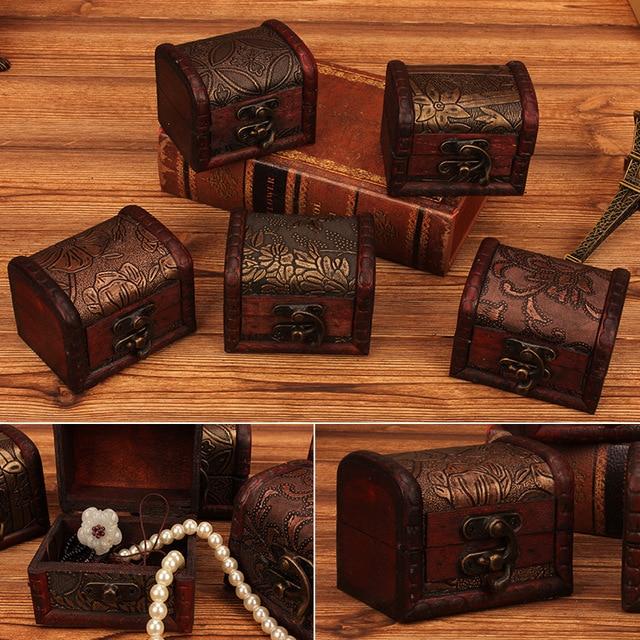 Mini Vintage Jewelry wood box Pearl Necklace Bracelet Gift Small Box