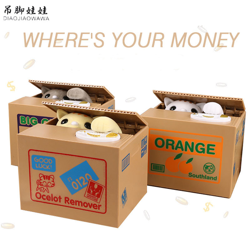 Kitty Cat Piggy Bank Saving Box Cute Panda Automatic Stealing Coin Money Box For Kid Gift 1
