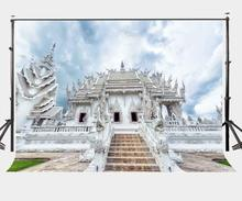 7x5ft Photography Backdrop Romantic Thai Architecture Scenery Thailand White Temple Background Studio Props