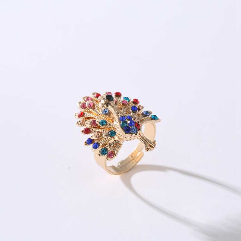 SHUANGR Vintage Ethnic Creative Peacock Ring Personality Crystal Adjustable Open Ring For Women Jewelry bijoux femme