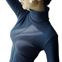 98 Cotton T Shirt Women Spring Autumn Long Sleeve Turtleneck Basic T Shirts Female Tops Plus