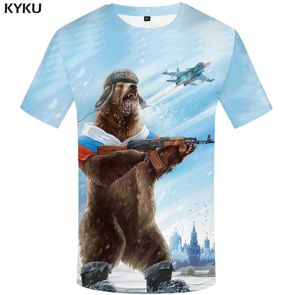 KYKU Russia T-Shirt Bear T-Shirts War Shirt Military Shirts Gun Clothing Tee Women Funny Anime Fashion Female