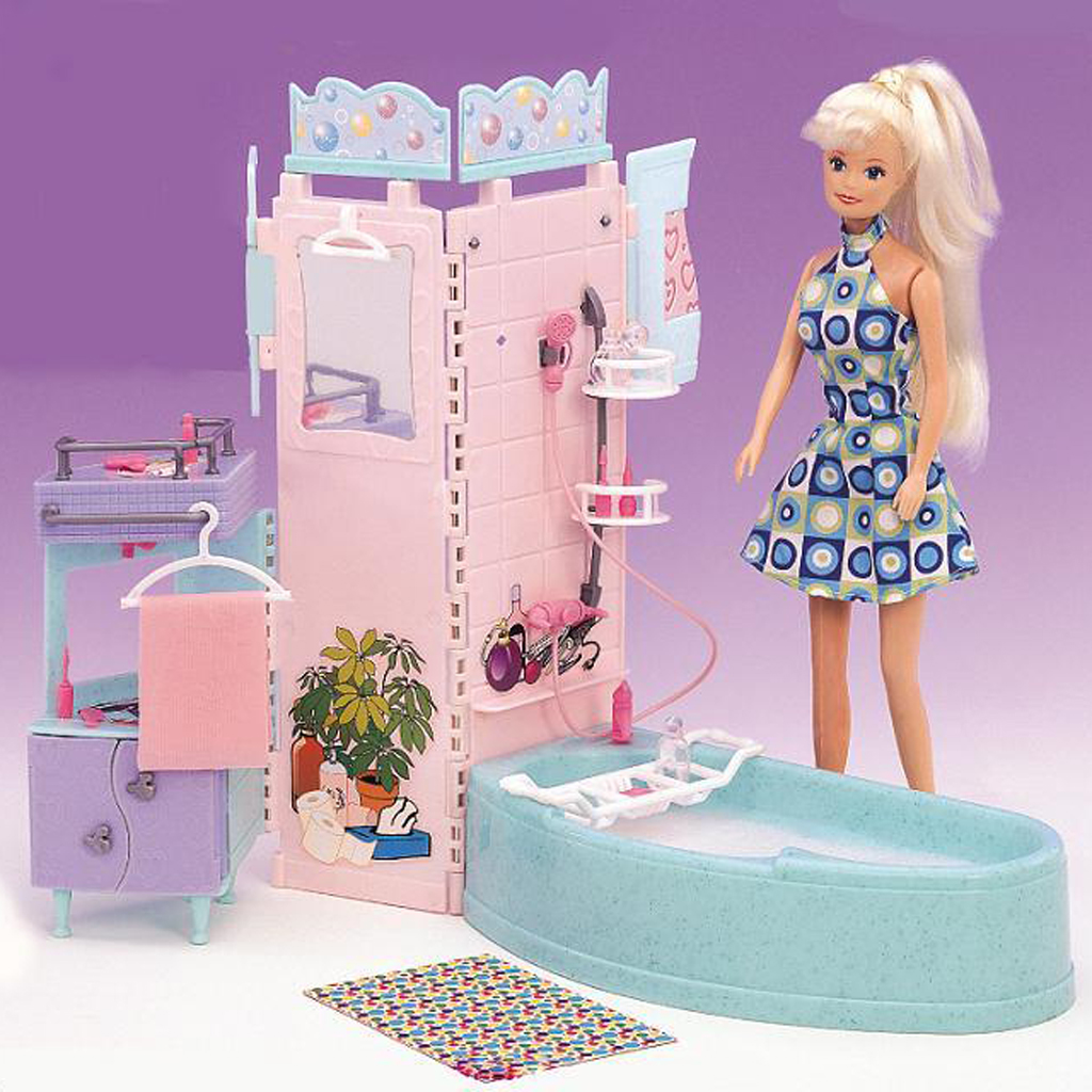 Miniature Bathtub Sink Furniture for Barbie Dollhouse Hot Toys Action Figures Summer Accessory