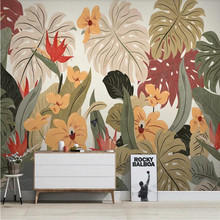 Custom wallpaper Nordic tropical plants banana leaves retro TV background wall painting decorative waterproof material