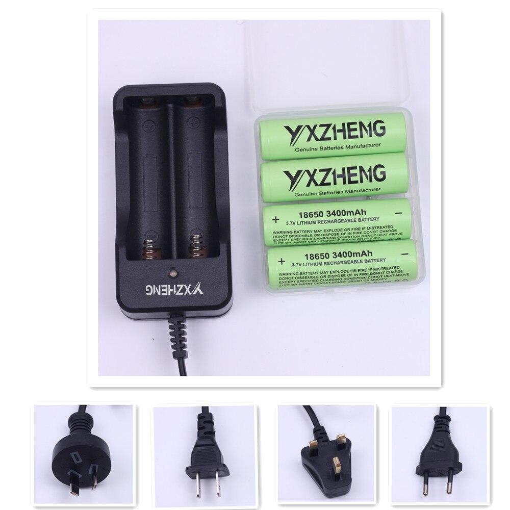 4 pièces 18650 3400mAh 3.6v véritable li-ion Rechargeable 18650 batterie pour panasonic avec mallette de rangement + 1pc 2 canaux Chargeur