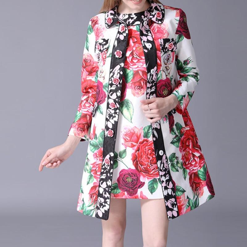 Magnifique 2018 Date Rose Tranchée Femmes Boutons Floral Imprimé Haute Qualité Designer Trench De Manteau IaSxqwfA