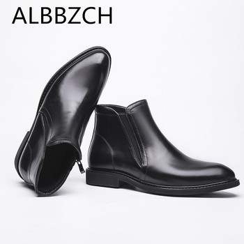 New arrival mens genuine cow leather boots fashion casual business work ankle boots winter wedding shoes men chelsea boots botas