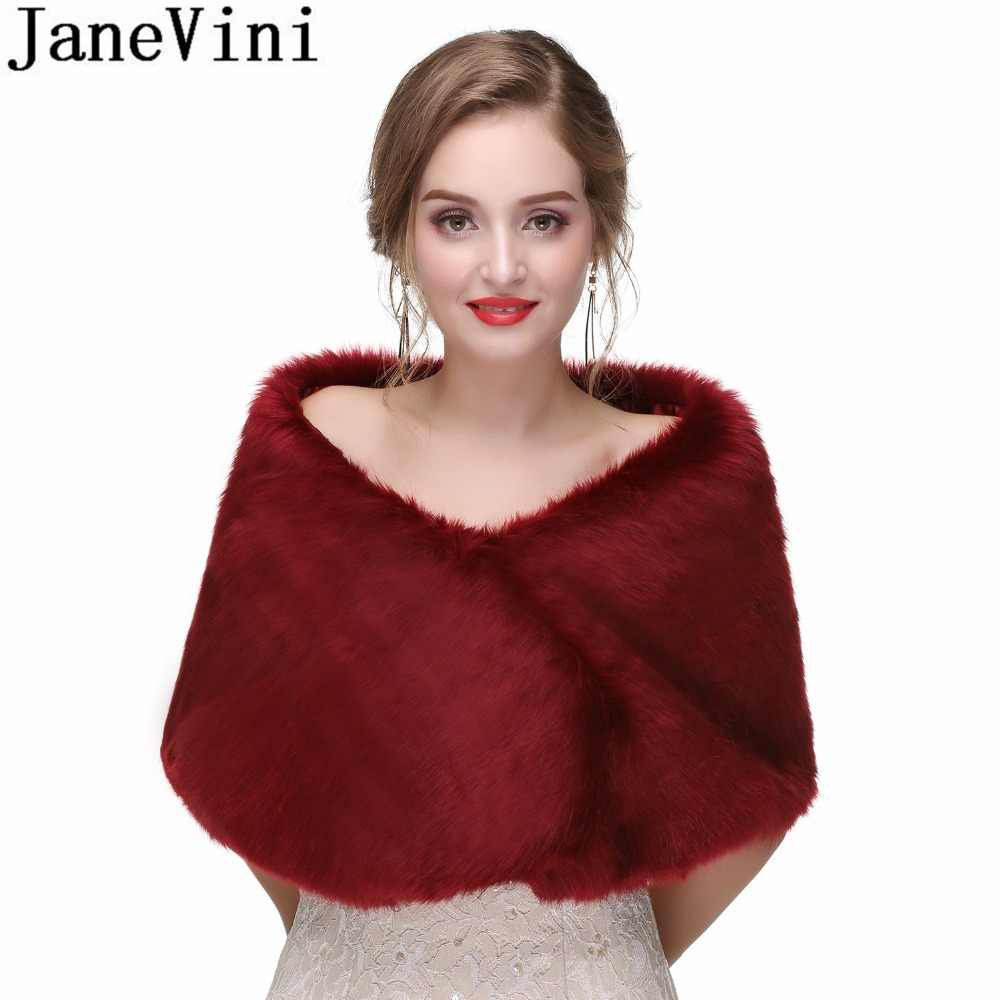 JaneVini 2018 Ladies Cape Shawls Evening Dresses Faux Fur Bridal Bolero Wedding Bride Shoulder Wraps Party Jacket Boleros Shrug