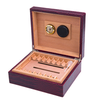 big capacity good quality New COHIBA Luxury Cedar Wood Cigar Humidor Pretty Storage Box with Lock Humidifier Hygrometer