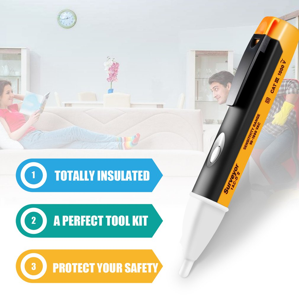 Pen Sensor-Tester Power 90-1000V Voltage-Detector Socket-Wall Led-Light Outlet Electric-Indicator
