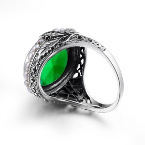 Image 3 - Szjinao anel de prata 925 simples pérola natural pedra preciosa anéis para mulher esmeralda pedra verde rendas vintage noivado sieraden