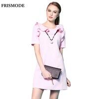 Frismode ruches kraag roze wit a-lijn dress zomer 2017 mode korte mouwen back zip sweet mini dress vrouwen elegante jurken