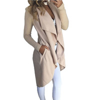 Women Jacket Coats Solid Color Stitching Long Sleeves Asymmetrical Long Spring Autumn Woman S Coat Jackets