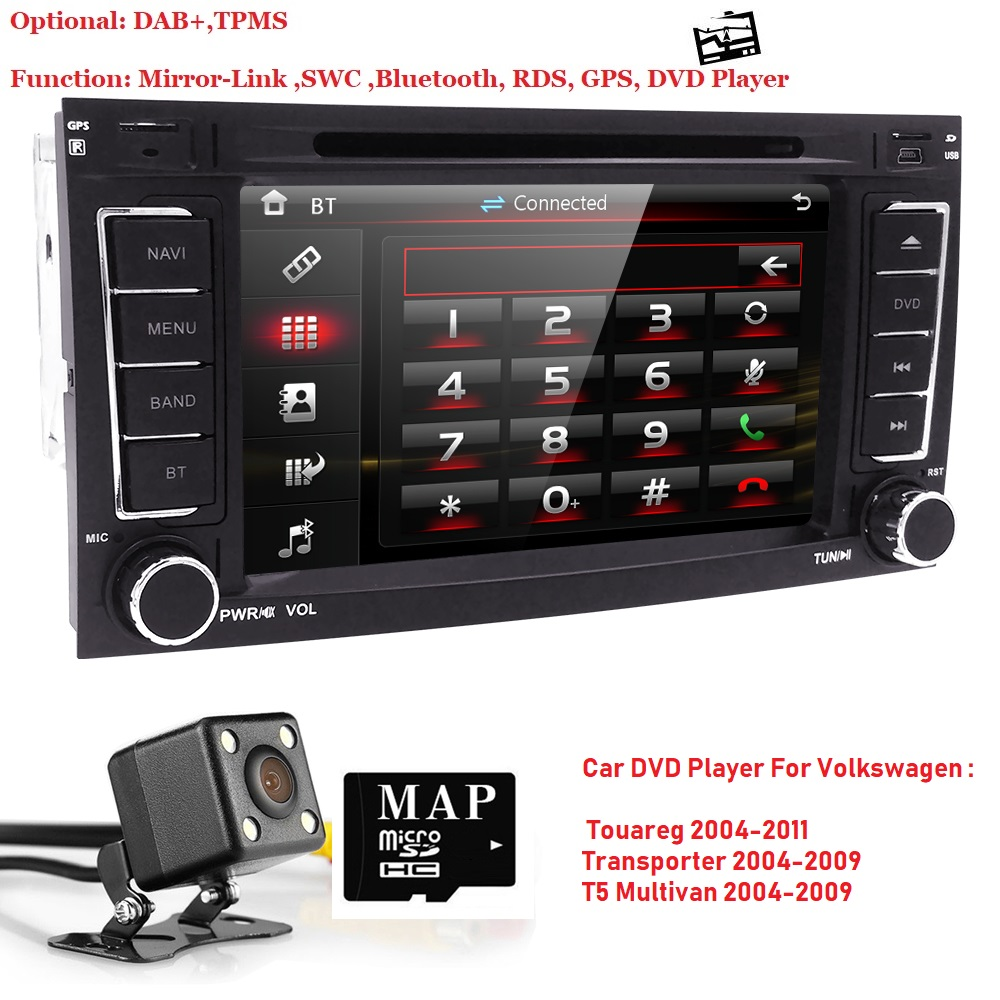 7 autoradio 2 din car dvd player for vw volkswagen touareg. Black Bedroom Furniture Sets. Home Design Ideas