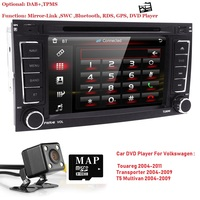 7AutoRadio 2 din Car DVD player for VW Volkswagen Touareg Transporter T5 Multivan 2004 2011 GPS Navigation Car audio 3G BT SWC
