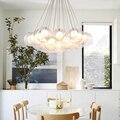 Criativo moderno lâmpada lustre bola de vidro transparente double-deck DIY home deco sala de estar romântica G4 lâmpada LED lustre luz