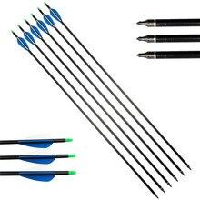 6/12 PCS Spine 500 Archery Fiberglass Arrows Practice Nocks Fletches Target Points Arrowheads Recurve Compound Bow Hunting