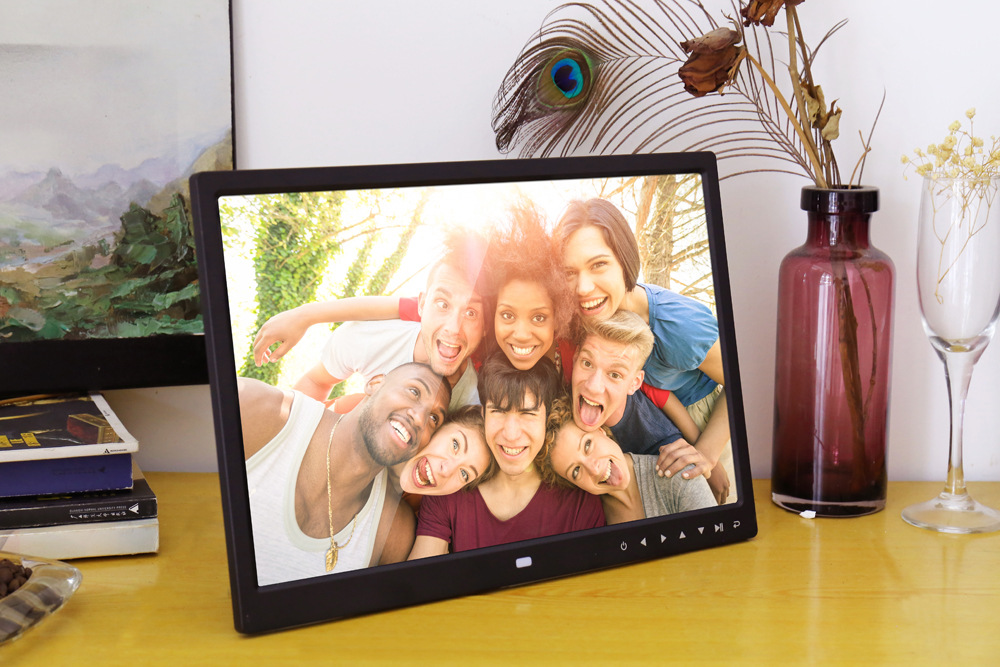 Volemer new Digital Frame 13 inch high definition Touch button electronic photo album video advertising machine digital brochure (17)