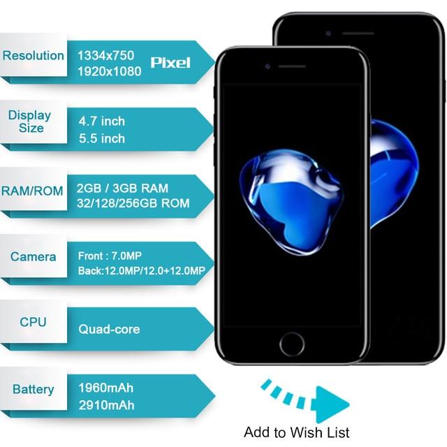 Apple iphone 7 smartphone desbloqueado 4g lte, smartphone com 32/128gb/256gb, ios, câmera de 12.0mp, quad-núcleo impressão digital 12mp 1960ma 2