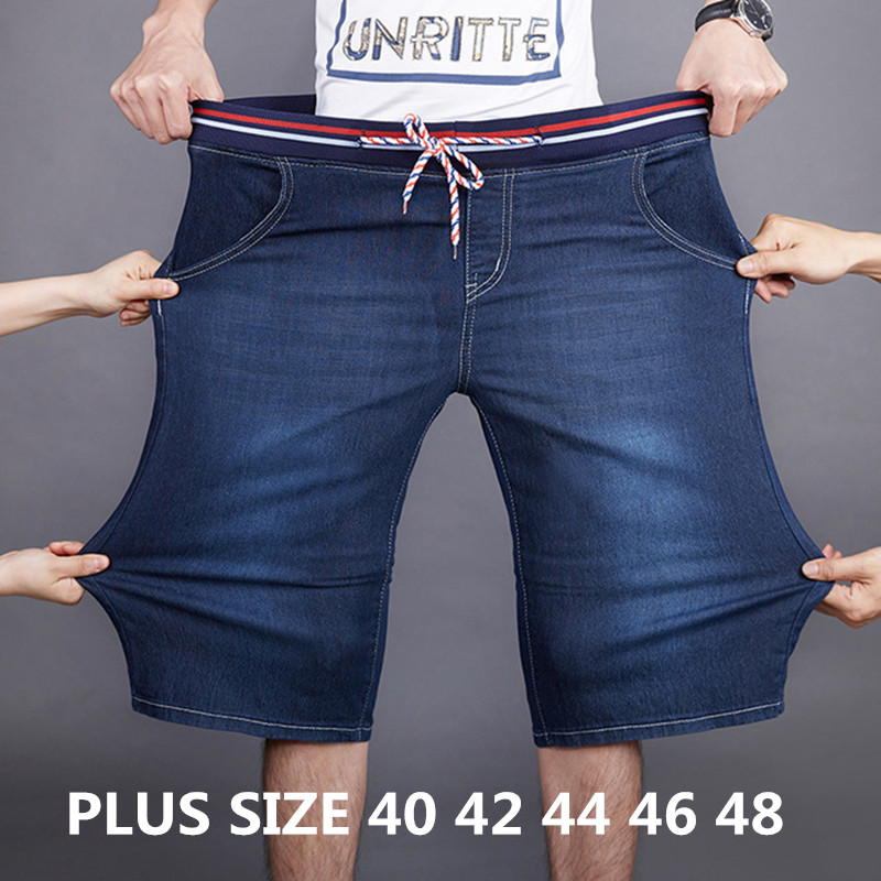 2019 Summer New Denim Shorts Men Loose Straight Stretch Elastic Waist Casual Short Jeans Male Plus Size 40 42 44 46 48