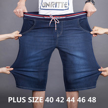 2019 Summer New Denim Shorts Men Loose Straight Stretch Elastic Waist Casual Short Jeans Male Plus Size 40 42 44 46 48 plus size straight legs zip fly slimming denim shorts for men
