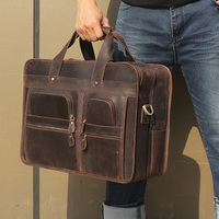 J.M.D Messenger Bags Portable Leather Laptop Briefcase Bag Men's Travel Shoulder Vintage 15.6 Inch Handbag For Macbook 7387R
