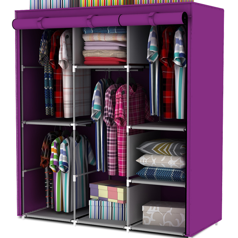 Steel Pipe Wardrobe Simple Hanging Clothes Cabinet Non Woven Combination Locker Large In Wardrobes From Furniture On