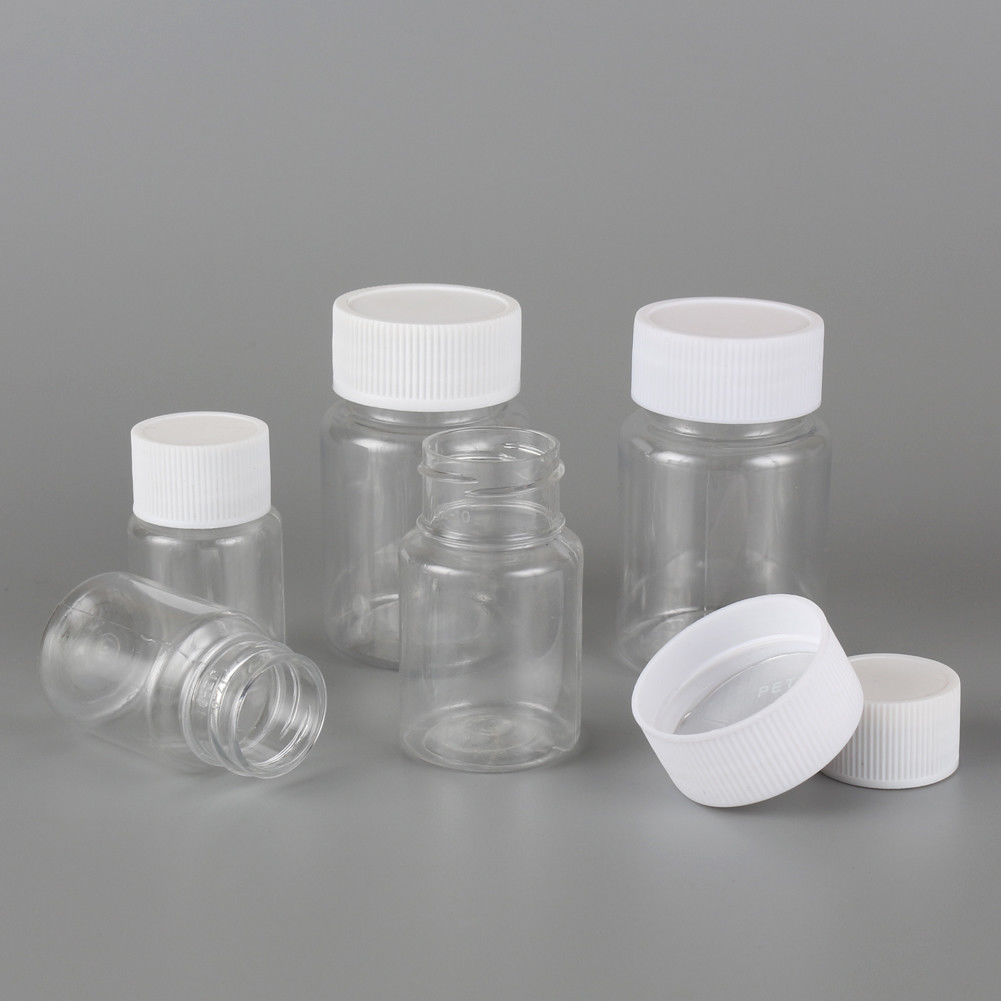 Lots 10Pcs 15ml/20ml/30ml/60ml Clear Plastic PET Refillable Seal Bottles Vials Reagent Store Container Plastic Screw Cap Lid