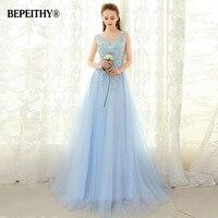 BEPEITHY Vestido De Festa Ligh Blue Long Prom Dress V Neck 2017 Custom Made Floor Length