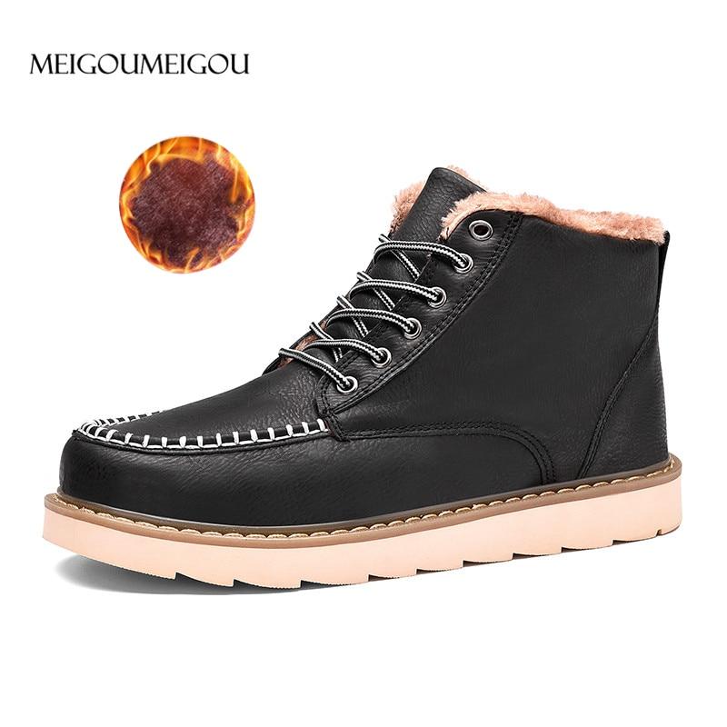 MEIGOUMEIGOU Men Winter Shoes Warmest Genuine Leather Handmade Men Winter Snow Boots Europe Style Men Winter Boots 39 45