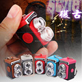 Retro Camera voiced LED flashlight key chain car lovers gift phone bag pendant ornaments Creative toys Novelty Lighting