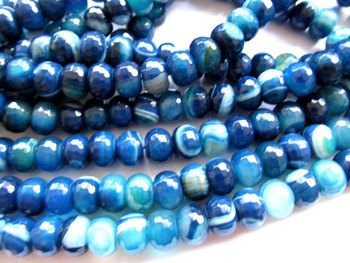 5strands 5x8-13x18mm high quality gergous natural agate bead rondelle abacus faceted sapphire blue beads