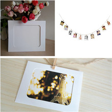 Kraft Paper Window Box White Greeting Card Photo Postcard Raft Boxes With Frame Home Decoration