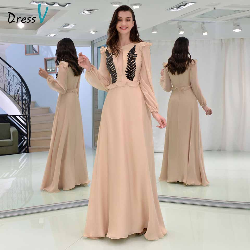 Dressv Party-Gown Appliques Long-Sleeves Evening Ruffles Nude Floor-Length Scoop A-Line