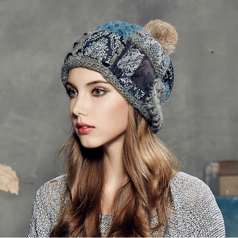 75566cad9fb1c Kenmont Autumn Winter Warm Women Girl Lady Jacquard Hand Knit Beanie Cap  Rabbit Fur Hair Ball Ski Cap 1635-in Skullies   Beanies from Apparel  Accessories on ...
