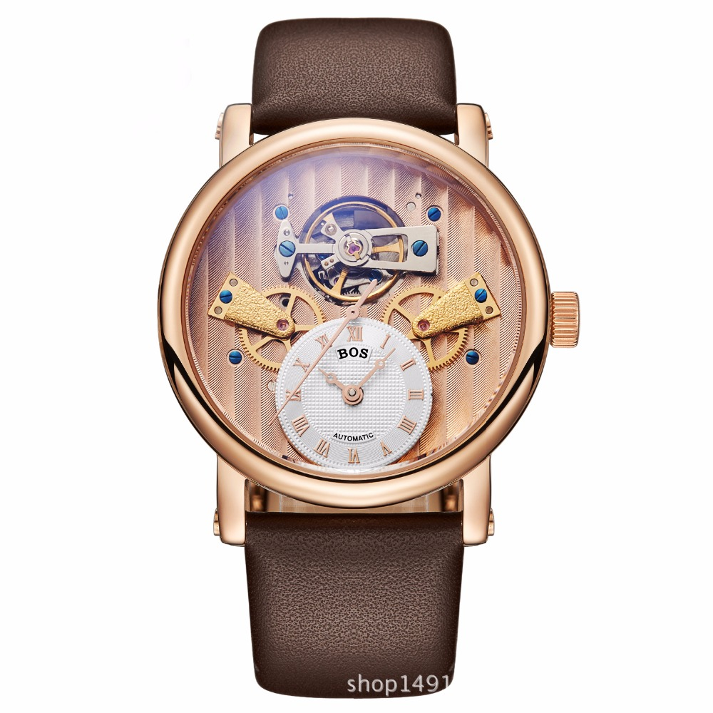цена Top Luxury brand hollow large dial automatic mechanical watch men fashion classic business Tourbillon genuine leather watches