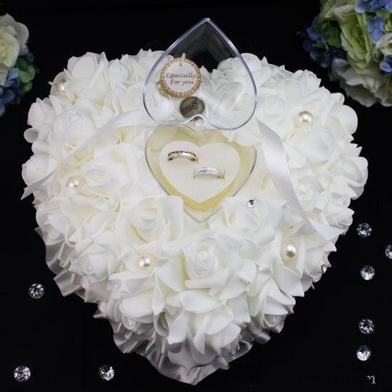 Cristaux blancs perle anneau de mariée oreiller Organza Satin dentelle porteur fleur Rose oreillers fournitures de mariée perlé mariage faveurs boîte